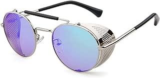Flowertree STY056 Metal Frame Mesh Fold-in Side Shield Round 52mm Sunglasses