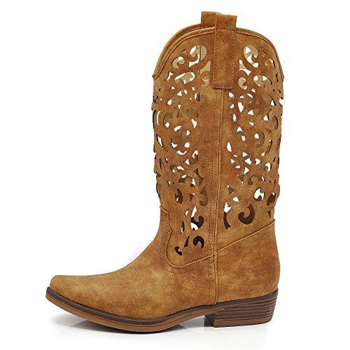 Texani Damen-Schuhe Cowboy Western Stiefel Spitze Camperos Ethnici DT-16, - Dt 16 Lochmuster Camel - Größe: 37 EU