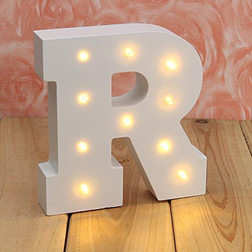 VSOAIR Luces de Madera, Decorativo en Las Luces Letra del Alfabeto de Madera Caliente MDF Blanco, con Luces LED con Pilas, Carta (R)