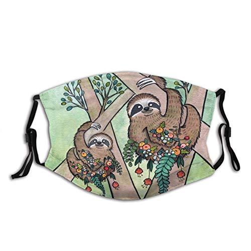 Mascarilla facial de Perezoso ajustable con bucles para los oídos, cubierta de la cara de animal lavable, bandanas premium con filtro para hombres y mujeres