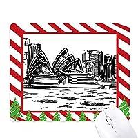 オーストラリアシドニーオペラハウススケッチ ゴムクリスマスキャンディマウスパッド