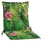 Möbel Jack Niederlehner Sesselauflage Sitzpolster Gartenstuhlauflage Stuhlauflage Polsterauflage | 100 x 50 x 7 cm | Grün | Dschungelmuster | Baumwolle | Polyester