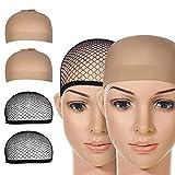 Ealicere 4 Pezzi Parrucca Tappi, protezione della parrucca Calotte per Parrucche di Nylon, Unisex Copricapo Elastici a Rete, Copricapo di Parrucche per Uomini e Donne, nero e beige