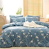 JELLYMONI Branch Flowers Duvet Cover Set, Pink Branch Flowers Pattern Printed on Blue Cotton Duvet Cover, Floral Duvet Cover Queen with Zipper Closure (3pcs, Queen Size)