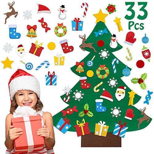 3ft DIY Felt Christmas Tree for Toddlers Kids Xmas Decorations Wall Hanging Set with 32Pcs Ornaments Gifts Party Supplies
