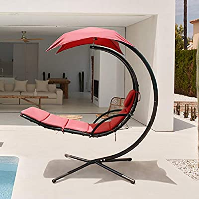 Flamaker Patio Hammock Lounge Chair Hanging Chaise Lounger Chair Hammock Stand Outdoor Chair Floating Chaise Swing Chair with Canopy (Red-Orange)