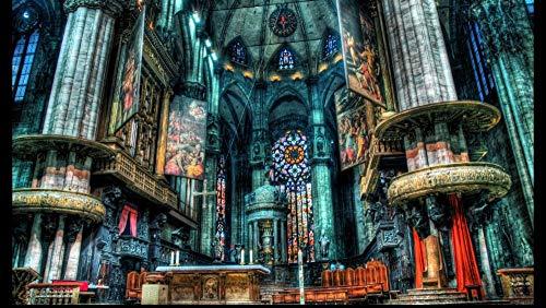 PUZZLE de 1000 piezas para adultos, rompecabezas familiar, rompecabezas de cartón, juegos educativos, rompecabezas para niños, niños iglesia catedral de Milán arquitectura HDR