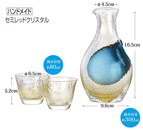東洋佐々木ガラス冷酒グラスセット金箔日本製カラフェ300ml、グラス80ml3点入りG640-M60