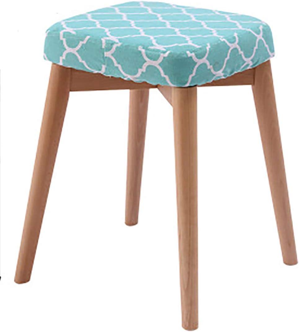 Articles ménagers Rubberwood Ronde Tabouret, Make Up Table Chaise, Table Vanity Seat, Tabouret en Bois,Gris Green Net