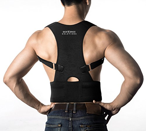 Posture Corrector Back Brace - Medical Grade Adjustable Posture Support Clavicle Support w Lower Back Lumbar Belt. Improve Bad Posture, Relieve Back Pain for Men and Women (S-M 26' - 31' Waist Size)