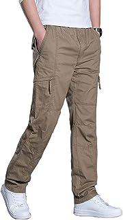 KLJR Men Multi-Pocket Zipper Sport Straight Leg Workwear Cargo Pants