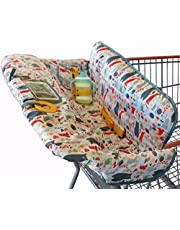 Suessie Shopping Cart Cover for Baby or Toddler | 2-in-1 High Chair Cover | Compact Universal Fit | Unisex for Boy or Girl | Includes Carry Bag | Fits Restaurant Highchair Forest Animals