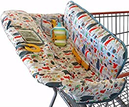 Shopping Cart Cover for Baby or Toddler | 2-in-1 High Chair Cover | Compact Universal Fit | Unisex for Boy or Girl | Includes Carry Bag | Machine Washable | Fits Restaurant Highchair | Forest Animals…