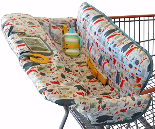 Shopping Cart Cover for Baby or Toddler | 2-in-1 High Chair Cover | Compact Universal Fit | Unisex for Boy or Girl | Includes Carry Bag | Machine Washable | Fits Restaurant Highchair | Forest Animals