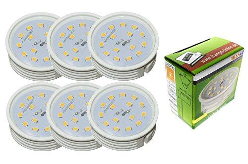 Trango 6er Pack ultra flache in 3 Stufen dimmbare LED Module I 6TGMO15SD I 3000K warm-weiß I nur 30mm Einbautiefe I ersetzt GU10 und MR16 Leuchtmittel I für Einbauleuchten