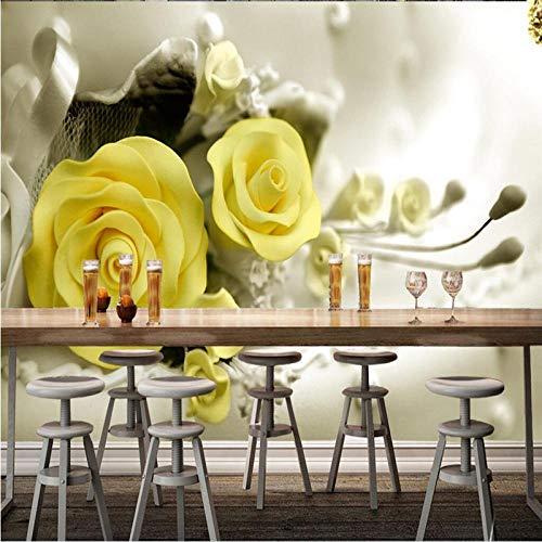 ZXCVWY Tapete Moderne Wanddekoration Wandbild Dreidimensionale Gelbe Rosenblütenpflanze 300 X 210 Cm(B*H) Hd 3D Foto Selbstklebende Tapete Poster Vintage Industrielle Wind Korridor Wandbilder Hinter