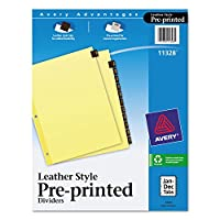 AVE11328 - Clear Reinforced Red Leather Tab Dividers