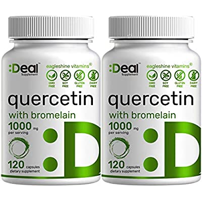 2 Pack Quercetin with Bromelain 1000mg Per Serving, 120 Capsules, Support Healthy Immune Response & Cardiovascular Health - Ultra Quercetin Supplement