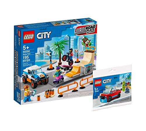 Collectix Lego Set - Lego City Skate Park 60290 + Lego City Skateboarder Polybag 30568, Geschenkset ab 5 Jahren