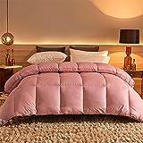TIUTIU Bettdecke Winter, 95% Weiße Gänsedaunen Verdickter Warmer Steppkern, Frühlings- Und Herbstüberwürfe Baumwolldecken (Pink,200x230cm - 3kg)
