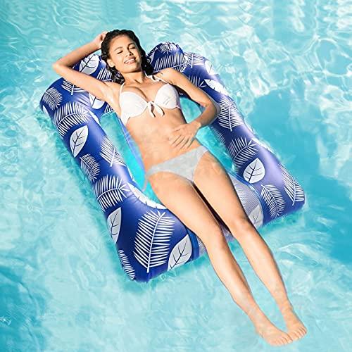 MiiDD Wasser Pool Hängematte, Wasser Luftmatratze Wasserliege hängematte Schwimmring mit Netz,Wasserhängematte:110 x 80 x 25 cm(U-förmiges Kissen)