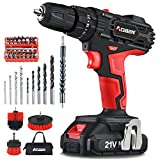 AOBEN Cordless Drill Driver Kit,21V Impact Power Drill Set (2.0Ah),3/8' Keyless Chuck,21+3Clutch,2 Variable Speed,350 in-lb Turque,LED Lights & Screen,with 41 Accosories Bits,3 Cleaning Brushes