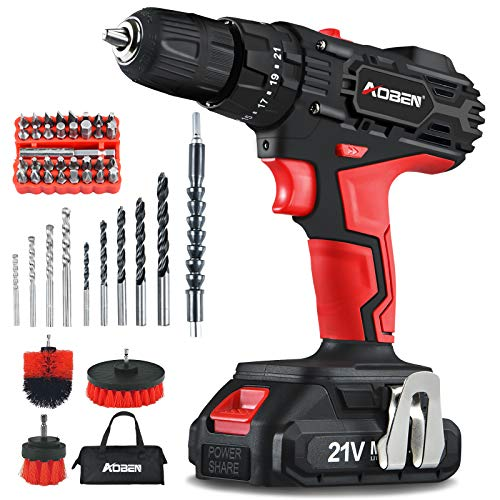AOBEN Cordless Drill Driver Kit,21V Impact Power Drill...