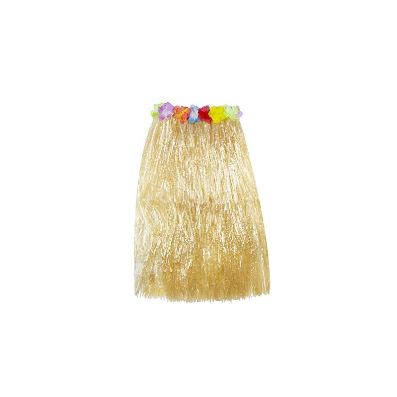 silk flower arrangements super z outlet hawaiian luau hibiscus green string & colorful silk faux flowers hula grass skirt for costume party, events, birthdays, celebration (1 count) (brown)