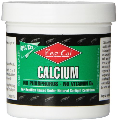 Rep-Cal 52298 Phosphorous-Free Calcium Powder Reptile/Amphibian Supplement Without Vitamin D3, 4.1 oz