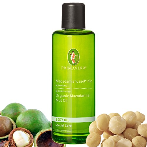 Primavera Olio per il corpo biologico, 100% oli essenziali naturali, fragranza: olio di noce di macadamia biologico