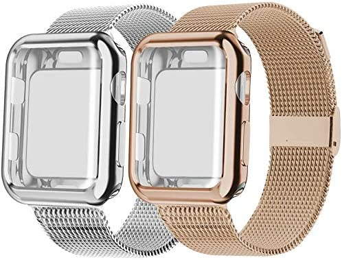 Swhatty Compatible with Apple Watch Band 42mm with Case Stainless Steel Mesh Loop Band with product image