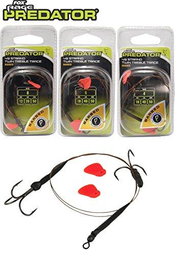 Fox Rage Predator Twin Treble Trace Drillingsvorfach, Köderfische, Raubfisch, erhältlich in verschiedenen Größen, Powerpoint Drillinge, toter Köder, lebender Köder, Größe/Tragkraft:Gr. 8 / 12kg