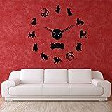 Orologio parete DIY Decorazione murale Toy Terrier Barboncini Yorkshire Terrier Razze di cani misti Wall Art Home Decor Orologio parete gigante fai te Cane Animali domestici Orologio appeso【Nero】