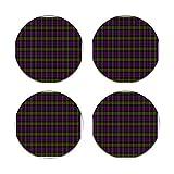 Juego de 4 posavasos de cerámica Donaldson Scottish Tartan Round Drinks Absorbente Stone Coaster Set con piedra de cerámica y base de corcho para tipos de tazas y tazas