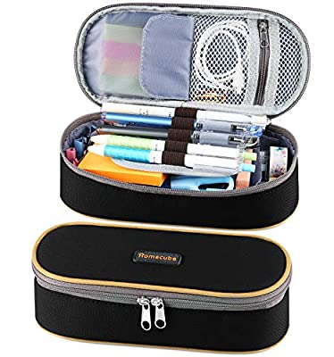 Pen Case, Homecube Big Capacity Pencil Bag Makeup Pouch Durable Students Stationery with Double Zipper, Black by Homecube
