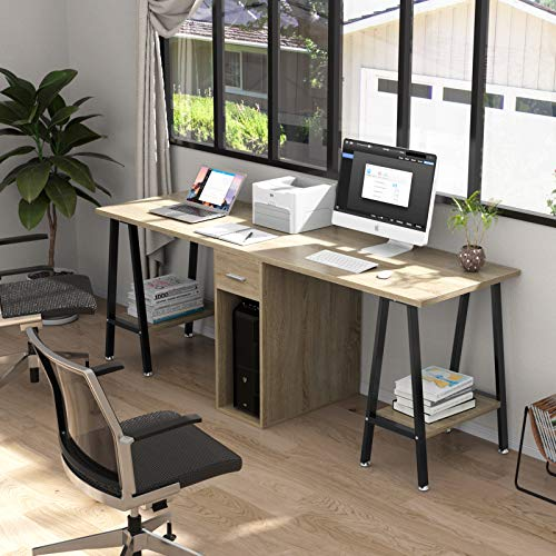 DEWEL 78inch Two Person Computer Desk Double Workstation with Drawer Large Dual Work Table with Storage Shelves Modern Study Writing Desk for Home Office