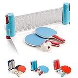 Set Ping Pong 1 Red 2 Raquetas 2 Pelotas Neto para Tenis de Mesa Longitud Ajustable hasta 170 cm Portátil Accesorio para Entrenamiento y Actividades al Aire Libre y Deportes (Sunrise, Rojo)
