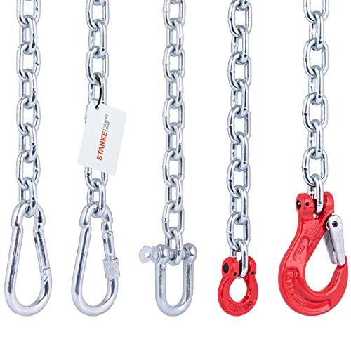 Seilwerk STANKE 200cm Set de fijación para Colgar Hamaca, Silla Colgante brasileña, Saco de Boxeo: Cadena de Acero 6 mm + mosquetón con Seguro 10x100mm