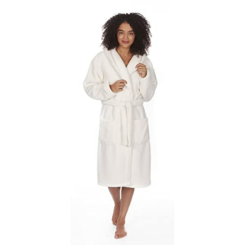 Ladies Women s Soft Flannel Fleece Hooded Snuggle Dressing Gown Robe  Nightwear 7ce307994