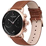Nordgreen Pioneer Men's Chronograph Watch Scandinavian Rose Gold 42mm with Black Dial and Brown Leather Strap 14021