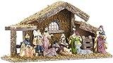 Britesta Krippe: Hochwertige Holz-Weihnachtskrippe, große handbemalte Porzellan-Figuren (Krippe Weihnachten)