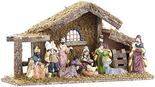 Britesta Crèche de Noël en Bois avec Figurines en Porcelaine