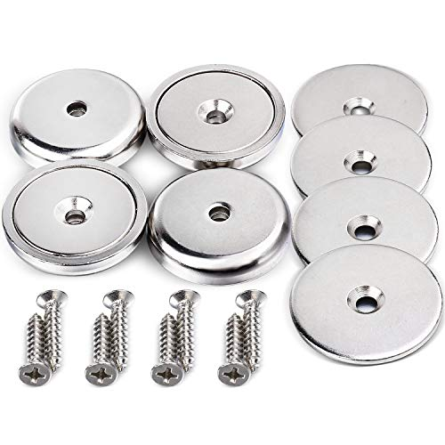 DIYMAG Neodymium Round Base Magnet with Mounting Screws, Strong, Permanent, Rare Earth Magnets. DIY, Building, Scientific and Craft Pot Magnets, 1.26 inch(32mm), Pack of 4