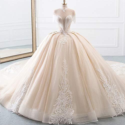 Vestido de novia de gasa de encaje de tul de novia vestido de la llegada de cuello alto de bola del vestido de boda de los vestidos de la princesa de la borla de las mangas del traje brillante Mariee