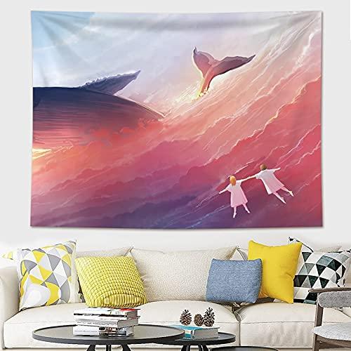 KHKJ Decoración para el hogar Impresión de Ballenas Tapices para Colgar en la Pared Estera de Yoga Manta Decoración de habitación estética Decoración Mural Decoración de habitación Linda A3 230x180cm