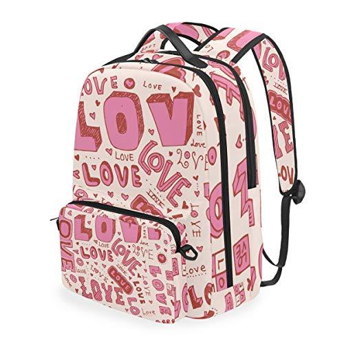 Pink Love Art - Mochila de hombro para portátil con bandolera para niños y niñas