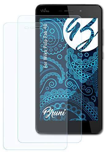 Bruni Schutzfolie kompatibel mit Wiko Pulp Fab 4G Folie, glasklare Bildschirmschutzfolie (2X)