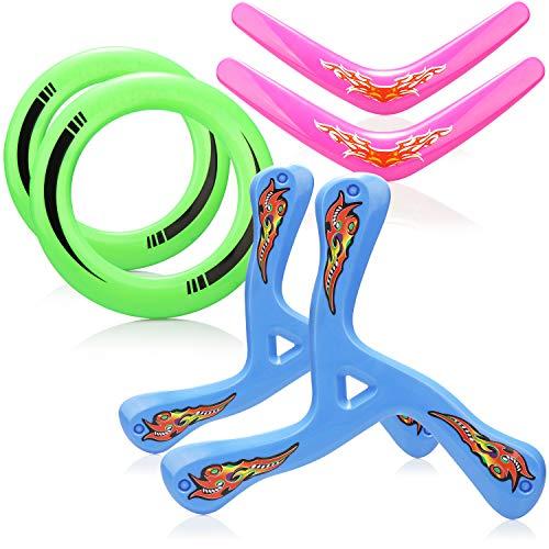 com-four® 6-teiliges Bumerang Set mit Frisbee - Boomerang und Wurfring - Wurf-Spielzeug für Kinder und Erwachsene (6-teilig - bunt)