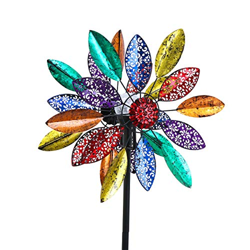 hourflik Solar Wind Spinner 3D Kinetic Wind Spinners Outdoor Metal Gardening Decorations with Multi-Color LED Lighting by Solar Powered Glass Ball with Lawn Ornament Wind Mills (Colorful)