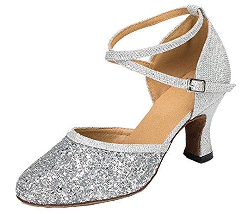 MGM-Joymod ,  Damen Durchgängies Plateau Sandalen mit Keilabsatz, Silber - Silver/7cm Heel - Größe: 38